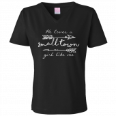 Dustin Lynch Ladies Black V Neck Small Town Girl Tee