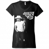 "Dustin Lynch Black ""Stay Country"" V Neck Ladies Tee"